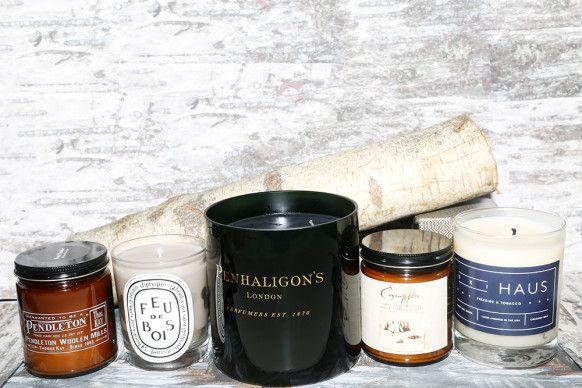 wood-scented candles- Pendleton's Wood Smoke.; Diptyque Feu de Bois; Penhaligon's Maduro Leaf Candle; Catbird Campfire; Ski Haus Fireside & Tobacco