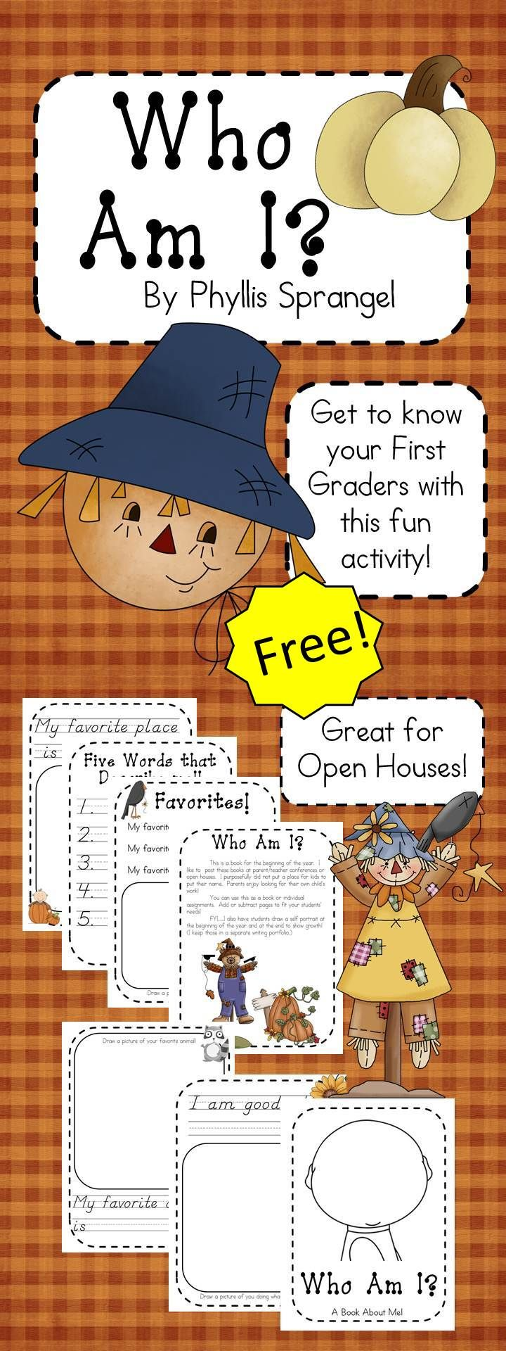 Freebie!! This is a book for the beginning of the year. I like to post these books at parent/teacher conferences or open houses.  You can use this as a book or individual assignments. Add or subtract pages to fit your students' needs!