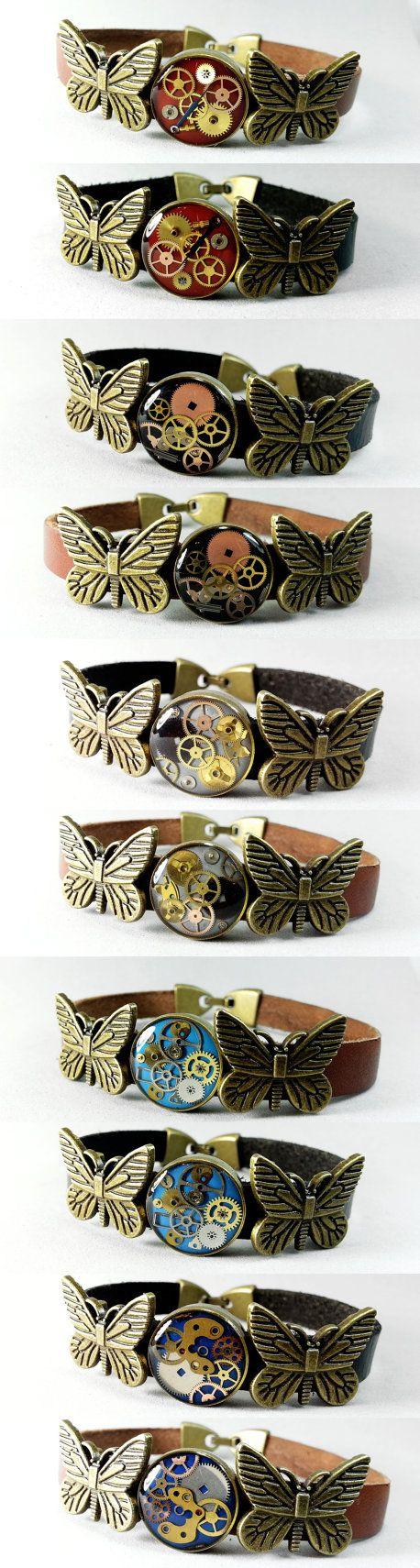 Steampunk - Steampunk Butterfly leather bracelet my initial name bracelet gift resin bracelet cuff custom bracelet best gift for her animal lover by ByEmilyRay