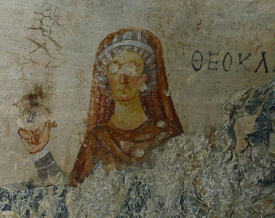 Св.равноап.Фекла, первомученица (пер. пол. II в.)Фреска из пещеры свв.Павлоа и Фёклы