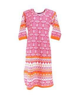 Cotton Printed Women's Kurta - (Pink, White)