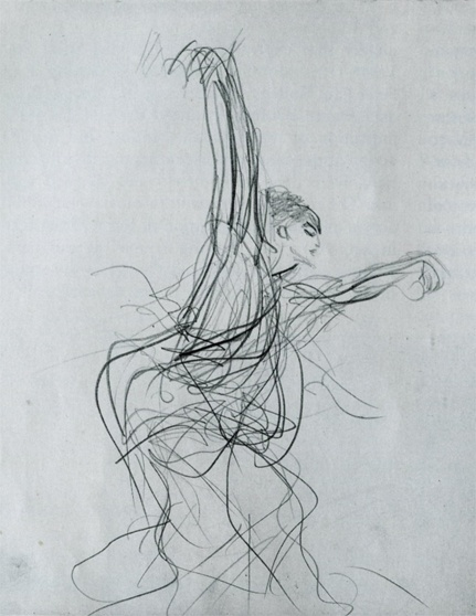 "John Singer Sargent  John Singer Sargent, Sketch of a Spanish Dancer, 1879  Pencil on paper, 11 1/2 x 9 ""  (Gardner Museum, Boston)"