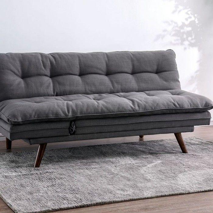 Cm2607 Braga Gray Linen Fabric Folding Futon Sofa Bed Tufted