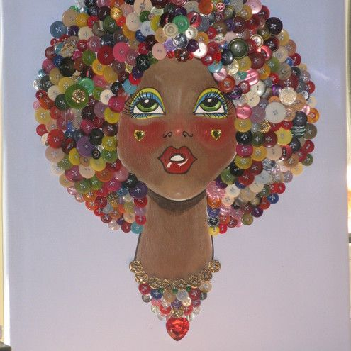 Afro Hair picture made with buttons. I love how all the different colors make this so fun and fanciful. #buttons #pinitparty