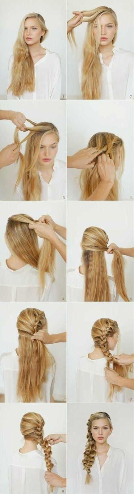Do you want to create a new and fun hairstyle on on your long hair? You can refer the romantic side braided hairstyle. Begin braiding from the front side. Add locks in with braiding going on. Put the braided hair at one side. Add some hair accessory.