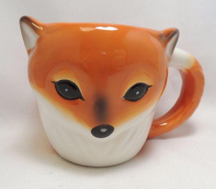 Sly Fox Coffee Tea Cocoa Mug Cup 3-D Figural Hand Painted Orange Brown 12 oz New…