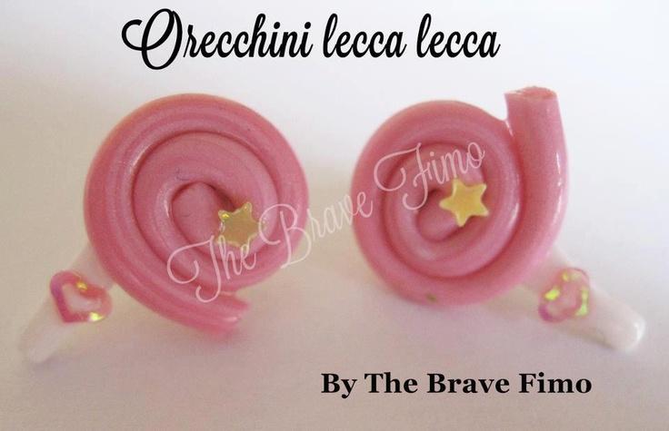 orecchini bottoncino lecca lecca in fimo ...Sono Totalmente realizzati a mano Senza stampi e lucidati con apposita vernice Costo: 5 euro