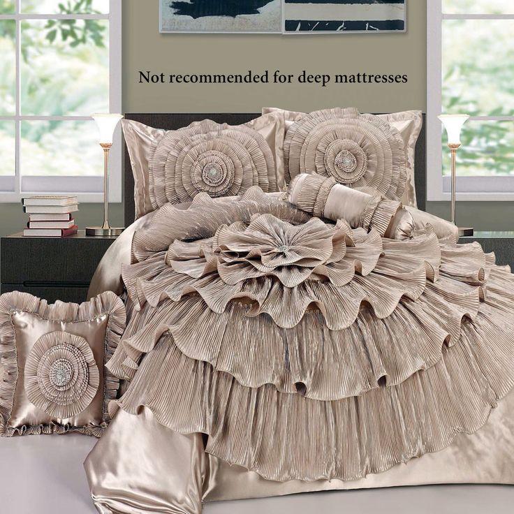 Ruffled Romance Champagne Rosette Comforter Bed Set