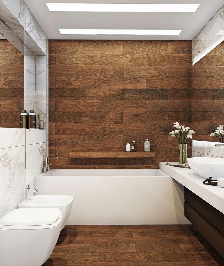 Beautiful Natural Bathroom In Natural Wood And White Bathroom