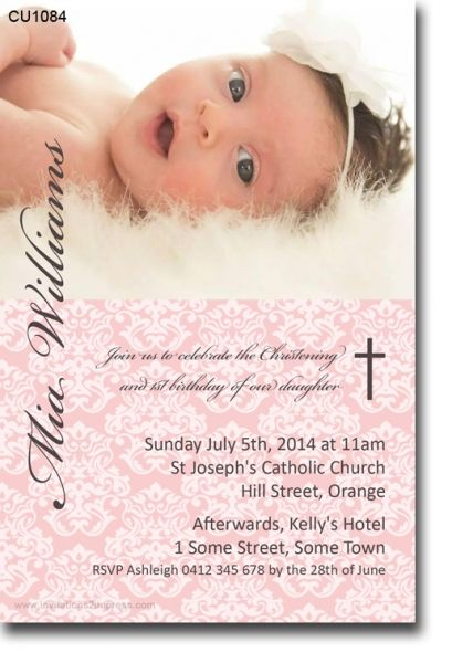 CU1084 - Damask Christening Invitation - Girls - Christening & Baptismal Invitations - Invitations 2 Impress