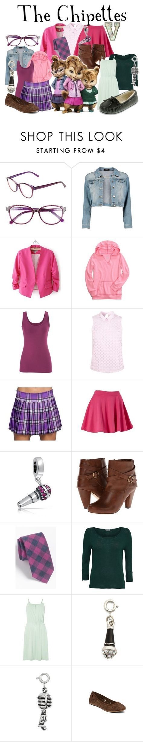 """""""The Chipettes - Jeanette, Brittany, Eleanor (Alvin and the Chipmunks)"""" by fabfandoms ❤ liked on Polyvore featuring Corinne McCormack, Boohoo, maurices, Miss Selfridge, Bling Jewelry, Madden Girl, Gitman Bros., Vero Moda, Roxy and Minnetonka"""
