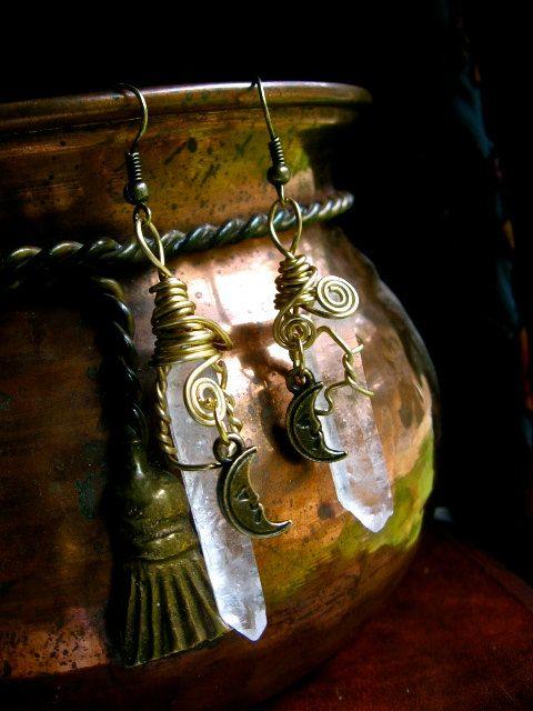 EireCrescent   Moon Magic- Quartz Point and Moon earrings