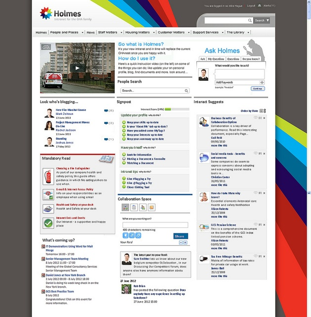 holmes the award winning intranet from glasgow housing association - Intranet Design Ideas