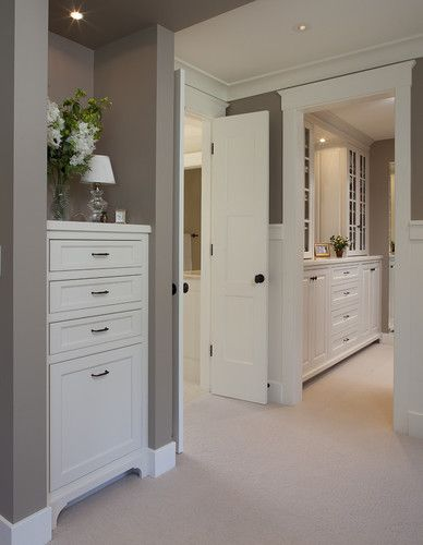 Linen closet? Remove the door and install drawers/fitting dresser for a Way more beautiful, finished look with all the storage.