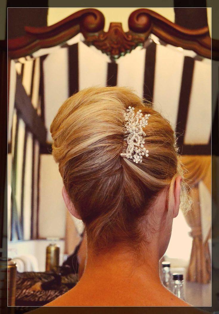 French pleat wedding hair bridal