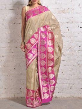 Beige-Pink Banarasi Silk Saree