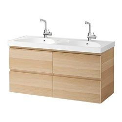 "IKEA - GODMORGON / EDEBOVIKEN, Sink cabinet with 4 drawers, white stained oak effect, 47 1/4x19 1/4x25 1/4 "", , 10-year Limited Warranty. Read about the terms in the Limited Warranty brochure.Smooth-running and soft-closing drawers with pull-out stop.You can easily change the size of the box by moving the divider.You can easily see and reach your things because the drawers pull out fully.Drawers made of solid wood, with bottom in scratch-resistant melamine.Perfect for more than one since…"