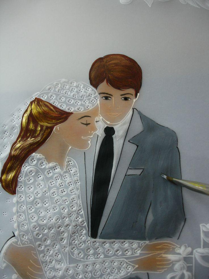 pintando el terno del novio