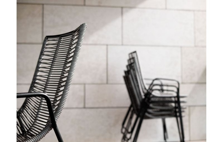 Elba chair in grey wicker and black laquer. Lovely! #boconcept
