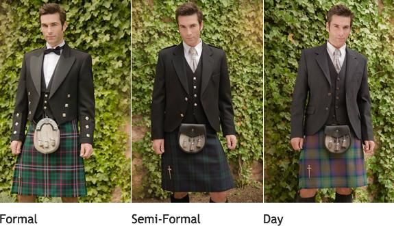 Don't look at the kilts! But see the jackets Semi Formal look vs Day. I think the groom could wear the dark black and the groomsman the lighter black.