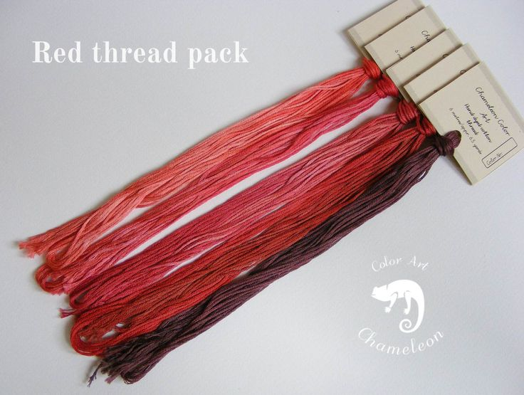 5 PCS Pure Cotton THREAD PACK Red - 6 metres/6.5 yards each by ChameleonColorArt on Etsy