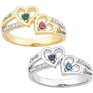 7ca9a69fc8 Personalized Sterling Silver Couples Heart Birthstone & Name Diamond Accent  Ring - Walmart.com