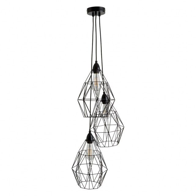 The black triple drop ceiling light with black Zelie shades is perfect for creating a statement in your home. [br]The Pendel white triple drop ceiling light fitting features 3 height adjustable fabric braided cords, a metal ceiling cup and E27 edison screw cap bulb holders. The Zelie shades are included.[br]Each cord can be arranged at the same height in a cluster or one on top of the other. Perfect for use with decorative bulbs.[br]Combine the light fitting with our lampshades to create a…