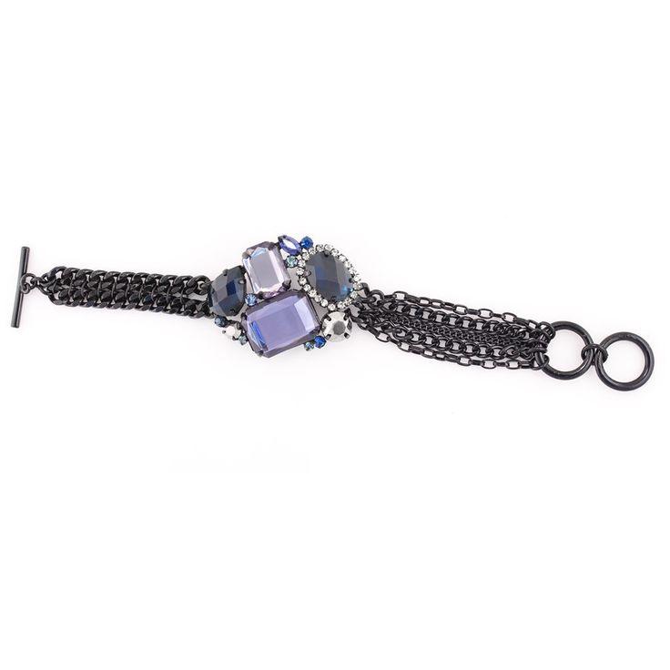 Black-Tone Metal Chain Blue And White Crystal Wrap Around Bracelets