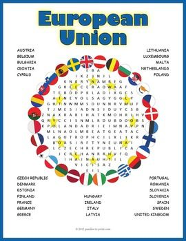 A word search puzzle featuring the names of the 28 member states of the European Union. Doing a word search puzzle is a great way to familiarize students with vocabulary and lists of words.