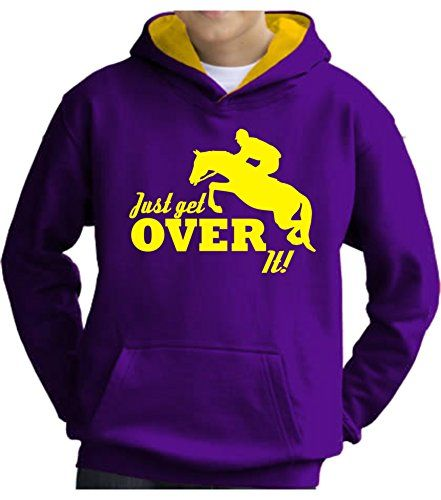 TWO TONE Purple/Sun Yellow Hoodie 'JUST GET OVER IT' with Yellow Print.