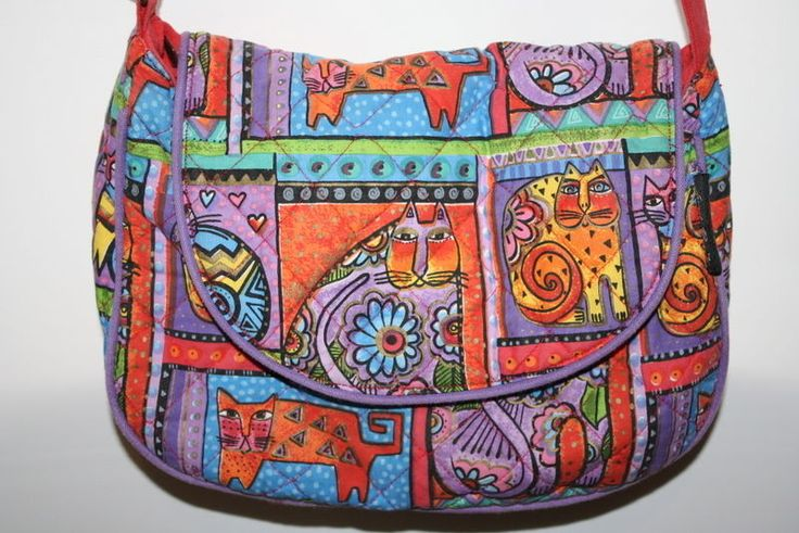 Laurel Burch Cotton Quilted Cat Family Portraits Cross Over Purse Bag Felines  #LaurelBurch #QuiltedCrossOver