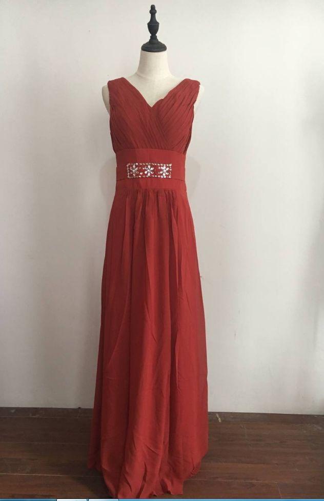 Cheap Stock Promotion Long Chiffon Prom Dresses V-neck