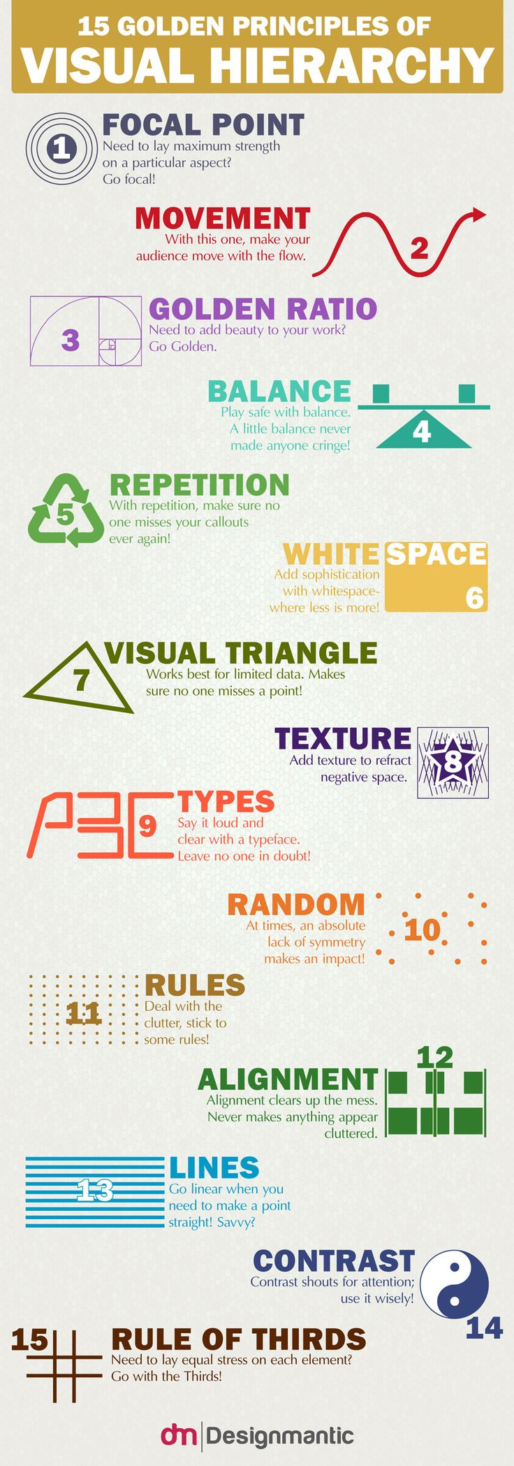 """Below, we have outlined, the """"15 Golden Principles of Visual Hierarchy"""" in order to dish out for you the various ways in which one can implement visual hierarchy in one's data and reduce the noise."""
