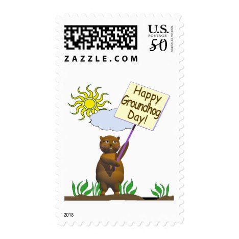 Happy Groundhog Day Groundhog Postage #groundhogday