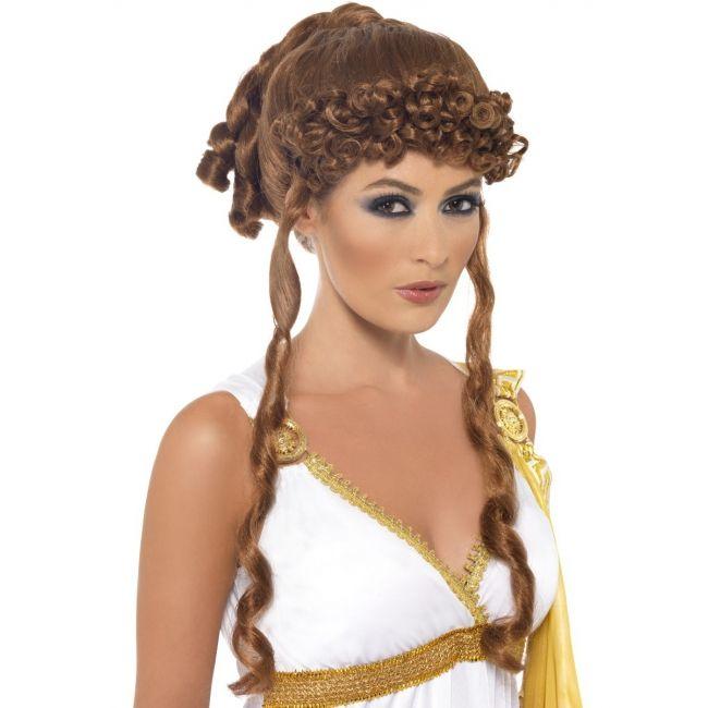 Bruine pruik opgestoken haar  Helena pruik bruin. Bruine Helena van Troje pruik voor dames. Bruine pruik met opgestoken haar.  EUR 14.95  Meer informatie