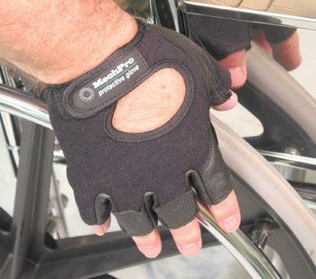 Push-Ease Half Finger Wheelchair Gloves - Medium by Colonial Medical Assisted Devices. $18.95. Push-Ease Half Finger Wheelchair Gloves - Medium Push Ease Half Finger Wheelchair Gloves   General purpose wheelchair glove.  Solid gel palm pad.  Provides hand protection while allowing users to reach into pockets.  Seamless forefinger reduces blisters and calluses.  Patented removal tabs assist in taking glove off without using teeth.  Machine washable.  Sizing: Measure from ...