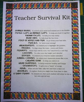 For The Joy of Creating: Teacher Back To School Survival Kit with downloadable list