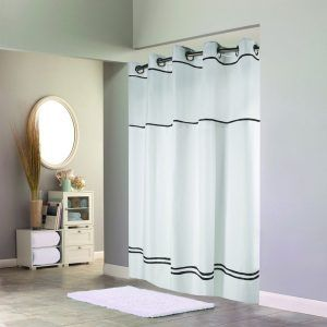 Black And White Hookless Shower Curtain