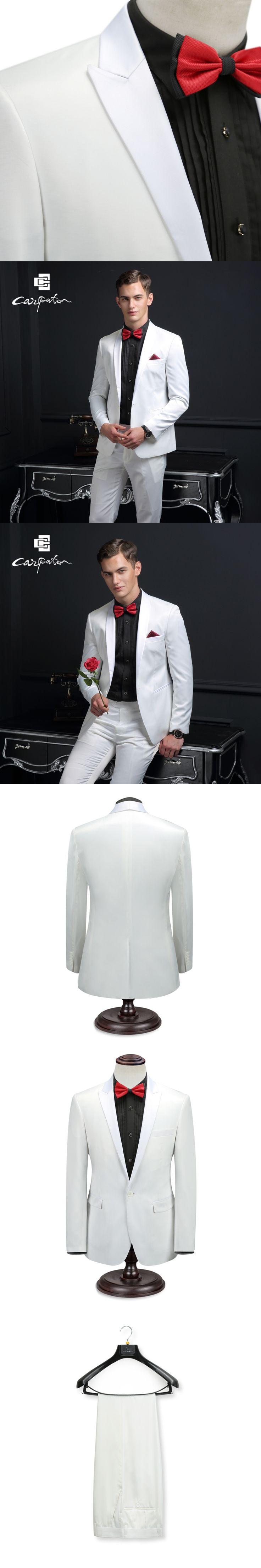 Carpaton Men Suit White Wool Designer 3PCS Suit Shawl Collar Brand Skinny Tuxedo Large Size Grooms Wedding Suits For Men Host