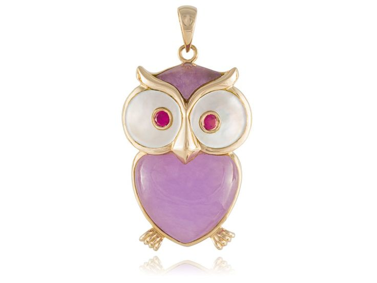 Lavender Jade and Mother Of Pearl Sage Owl Pendant, 14k Gold: Jewelry: