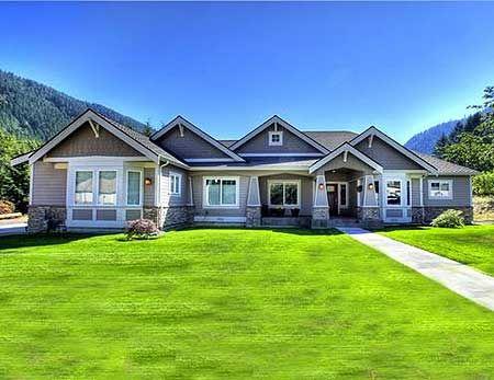 Plan W23279JD: Northwest, Premium Collection, Corner Lot, Craftsman, Photo Gallery House Plans & Home Designs--nice single story