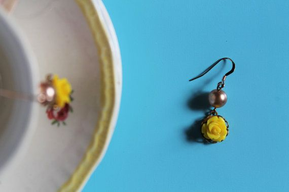 Pink Pearl Yellow Rose French Ear Wire by comeandplaybetsymay