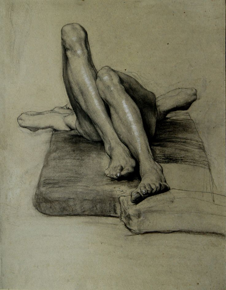 Sascha Schneider, Untitled (study of a reclining male nude with tucked up legs), 1894, pencil and charcoal with white highlights on grey pap...