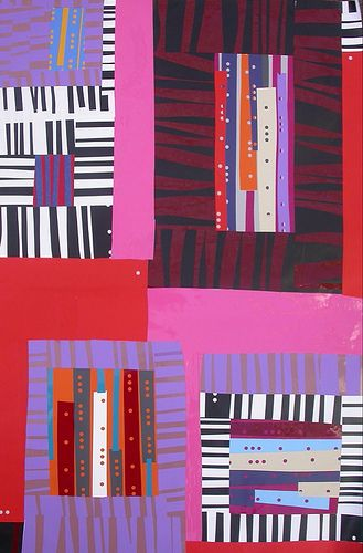 Cut pieces of paper help make these fun quilts, perfect for younger students