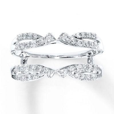 Diamond Enhancer Ring 1 2 Ct Tw Round Cut 14k White Gold