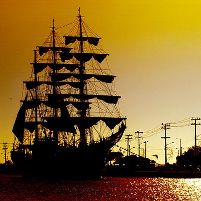 Colombian training ship ARC Gloria at sunset in Cartagena, Colombia