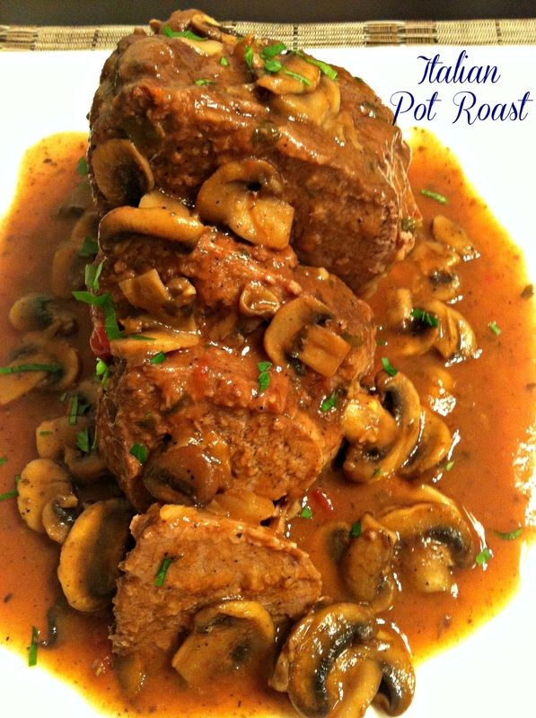 Italian Pot Roast!  Slow cooked beef roast with Italian herbs and served with a delectable mushroom sauce.