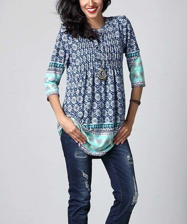 Look what I found on #zulily! Blue Floral Notch Neck Pin Tuck Tunic by Reborn Collection #zulilyfinds