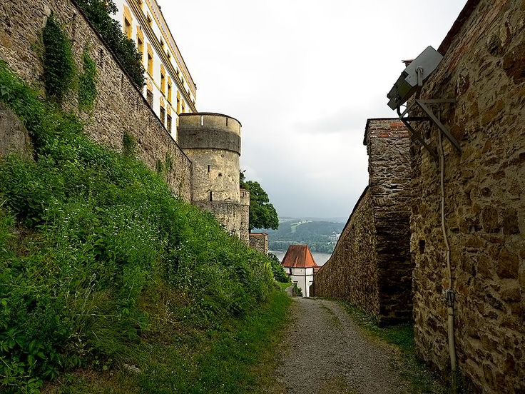 Veste Oberhaus Fortress, founded in 1219, crowns a high hill that overlooks the town of Passau, Germany.