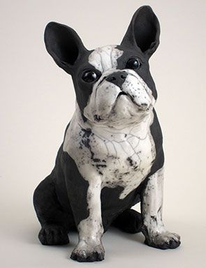 Ceramic Boston Terrier by Ronnie Gould